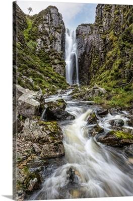 Loch Na Gainmhich Waterfall, Sutherland, Highlands, Scotland, United Kingdom