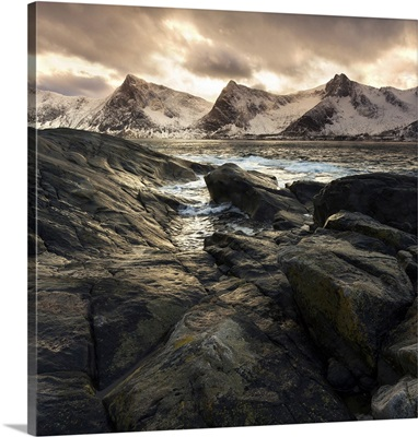 Lofoten, Norway, Last lights on the Norwegian fjord