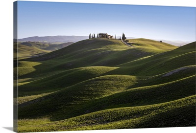 Lonely House Into The Hills In Asciano Outskirt, Siena Province, Tuscany, Italy