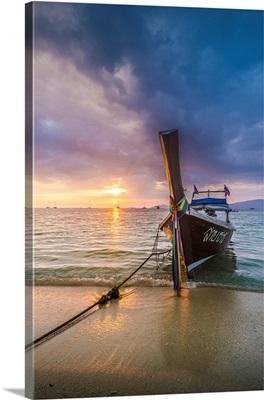 Longtail Boats At Sunset Beach, Ko Lipe, Satun Province, Thailand.