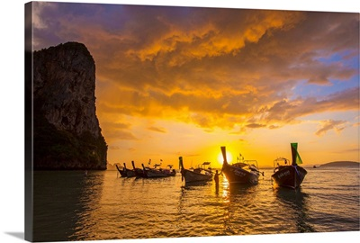 Longtail boats on West Railay beach, Railay Peninsula, Krabi Province, Thailand