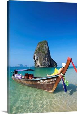 Longtailboot at Laem Phra Nang Beach, Krabi, Thailand