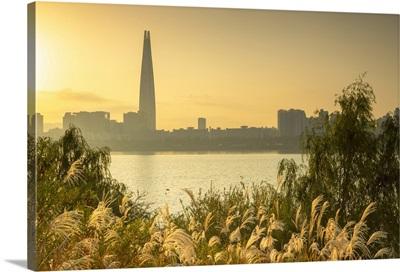 Lotte World Tower And Nam River At Sunrise, Seoul, South Korea