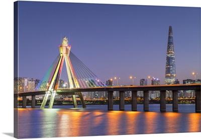 Lotte World Tower And Olympic Bridge At Dusk, Seoul, South Korea