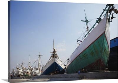 Makassar schooners in port of Sunda Kelapa, Jakarta, Java, Indonesia