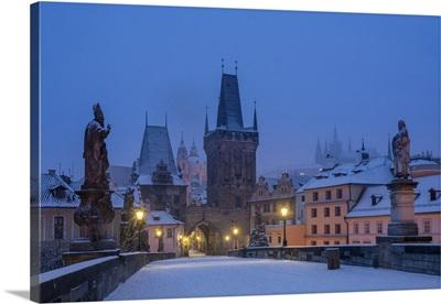Mala Strana Bridge Tower At Twilight In Winter, Prague, Bohemia, Czech Republic