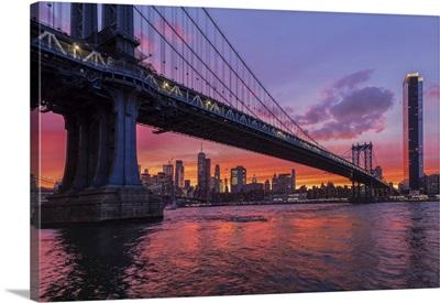 Manhattan Bridge To Lower Manhattan With One World Trade Center, New York City, New York