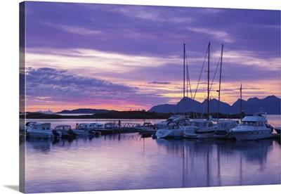 Marina at sunset, Kjerringoy, Nordland, Norway