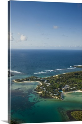 Mauritius, Southern Mauritius, Aerial view of Blue Bay hotel area