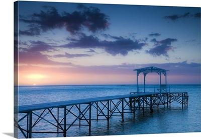 Mauritius, Western Mauritius, Le Morne Peninsula, pier at the Dinarobin Hotel, dusk
