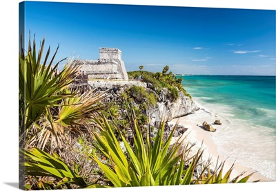 Mayan Temple Ruins And Beach, Tulum, Yucatan, Mexico