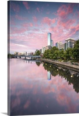 Melbourne, Victoria, Australia. Rialto towers on the right at sunrise