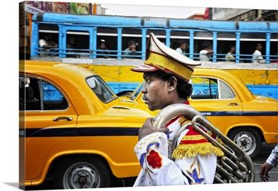 Member of a music band, Streets of Kolkata, India