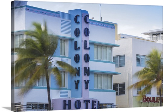 Miami Beach South The Colony Art Deco Hotel On Ocean Drive