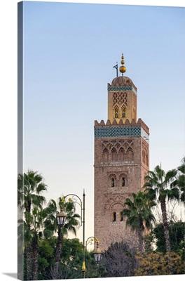 Minaret of 12th century Koutoubia Mosque at dusk