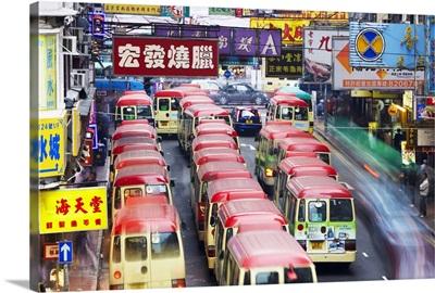 Mini-buses parked on Fa Yuen Street, Mong Kok, Kowloon, Hong Kong, China