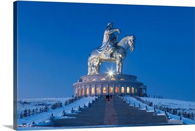 Mongolia, Tov Province, Tsonjin Boldog statue of Genghis Khan on horseback