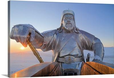 Mongolia, Tov Province, Tsonjin Boldog, statue of Genghis Khan on horseback