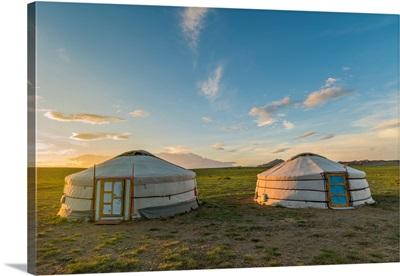 Mongolian Nomadic Traditional Gers At Sunset. Middle Gobi Province, Mongolia.