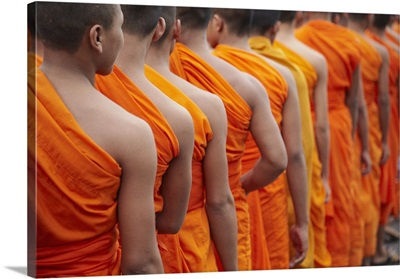 Monks in mourning parade for the late King Sihnaouk, Phnom Penh, Cambodia