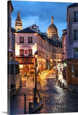 Montmartre at night with illuminated Sacre Coeur Basilica, Paris, France