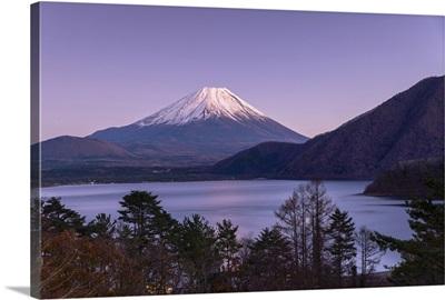 Mount Fuji And Lake Motosu At Dusk, Yamanashi Prefecture, Japan