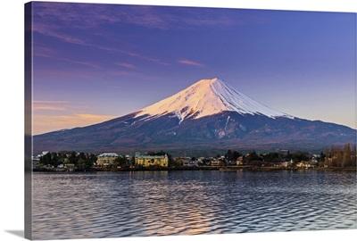 Mount Fuji at sunrise as seen from Lake Kawaguchi, Yamanashi Prefecture, Japan