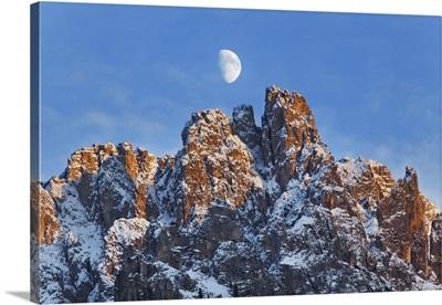 Mountain Impression Cadini Di Misurina And Moon, Italy, Veneto, Belluno, Alps, Dolomites