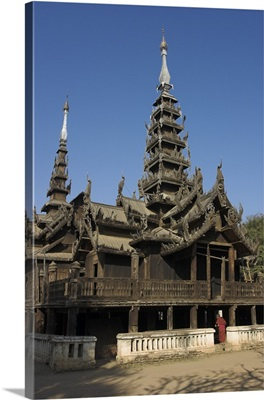 Myanmar, Bagan, Ancient wooden monastery of Nat Taung Kyaung (May-taung taik)