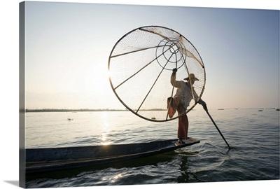 Myanmar, Shan state,  Nyaungshwe Township. Local Intha fishermen fishing