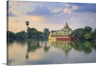 Myanmar, Yangon, Shwedagon Paya, Karaweik Hall and Kandawgyi Lake