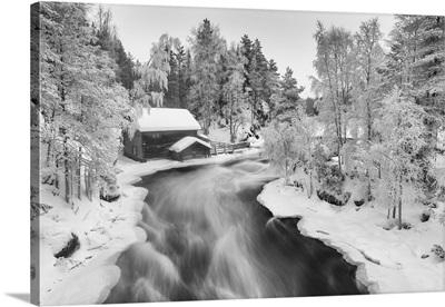 Myllykoski In Winter, Kitka River, Kuusamo, Finland
