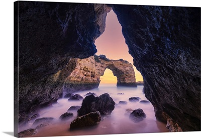 Natural Sea Arch Framed By Cave, Praia Da Albandeira, Algarve, Portugal