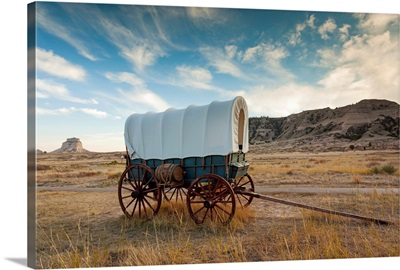 Nebraska, Scottsbluff, Scotts Bluff National Monument and pioneer wagon train