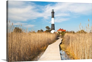 New York Long Island Fire Robert Moses State Park Lighthouse Wall Art Canvas Prints Framed Peels