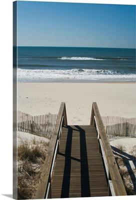New York, Long Island, The Hamptons, Westhampton Beach, beach view from beach stairs