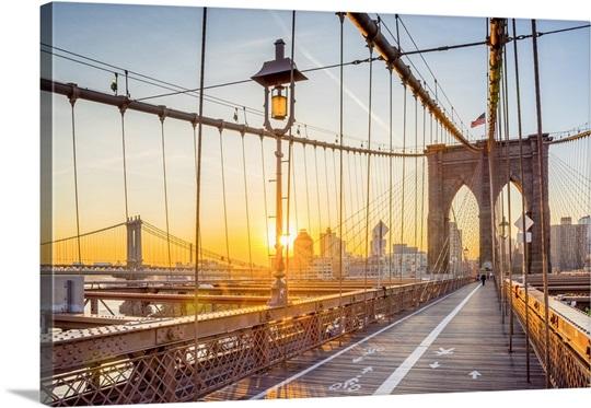 New York, Manhattan, Brooklyn Bridge at Sunrise Wall Art, Canvas ...