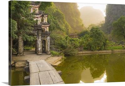 Ninh Binh, Northern Vietnam. Bich Dong pagoda nearby Ngu Nhac mountain. mountain