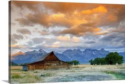 Old Barn and Teton Mountain Range, Jackson Hole, Wyoming