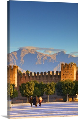 Old City Wall With Anti Atlas Mountain Range, Taroudant, Morocco, North Africa