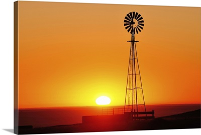 Old west windmill at sunset, Pawnee National Grassland, Colorado
