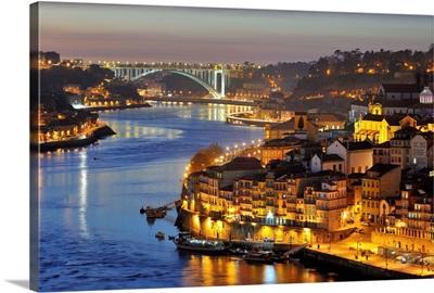 Oporto. Ribeira, a Unesco World Heritage Site at dusk, Portugal