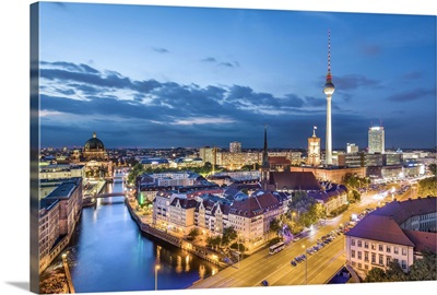Overview, Berlin Dom, Spree River and Television tower, Berlin, Germany