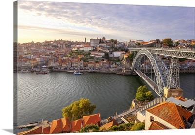 Overview Of Porto Old Town And Dom Luis I Bridge, Vila Nova De Gaia, Porto, Portugal