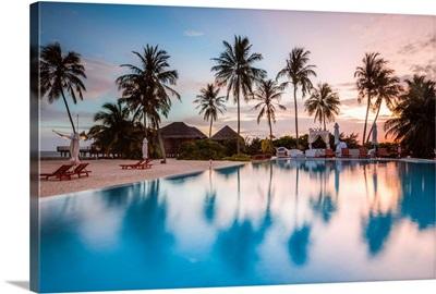 Palms Reflecting In Swimming Pool At Sunset, Maldives