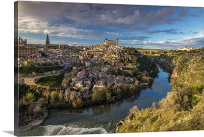 Panoramic view over Toledo and Tagus river, Castile La Mancha, Spain