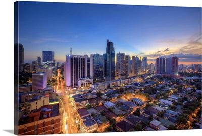 Philippines, Manila, Makati Business District, Makati Avenue and City Skyline
