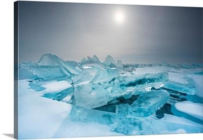 Pieces Of Ice With Sun Reflection At Lake Baikal, Irkutsk Region, Siberia, Russia
