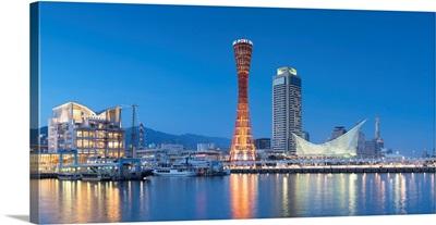 Port Tower And Maritime Museum At Dusk, Kobe, Kansai, Japan