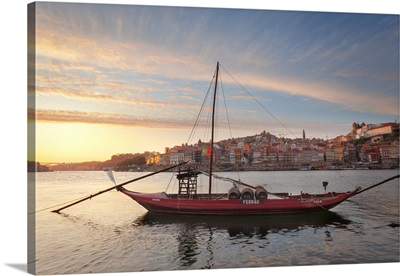 Port Wine Boats Moored On The South Bank Of Douro River, Porto,  Portugal
